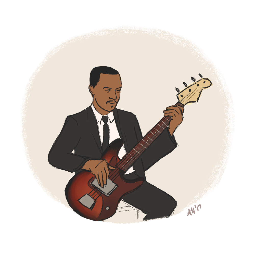 a black history month illustration by alleanna harris of the legendary bass player james jamerson