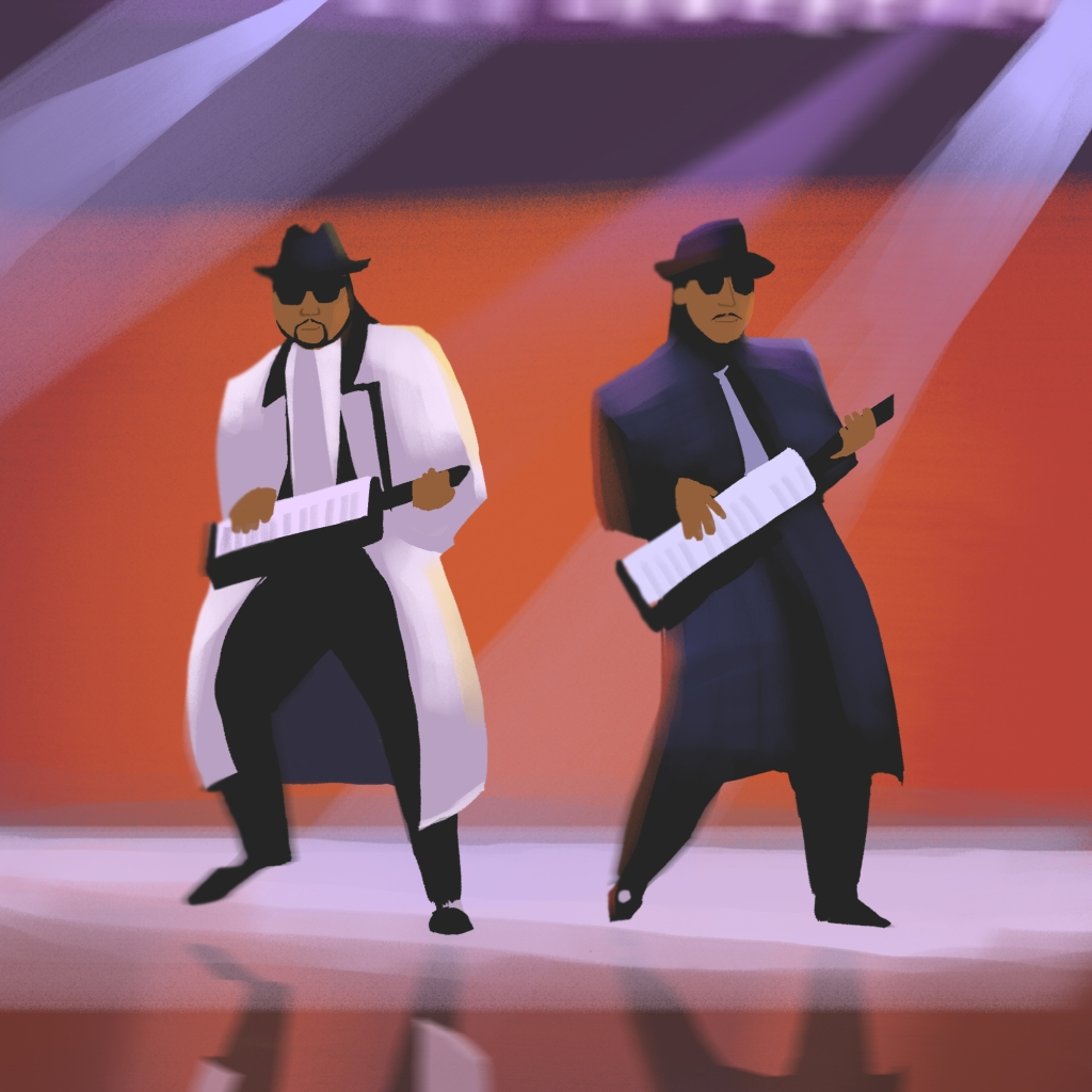 a black history month illustration by alleanna harris of the legendary duo Jimmy Jam and Terry Lewis.