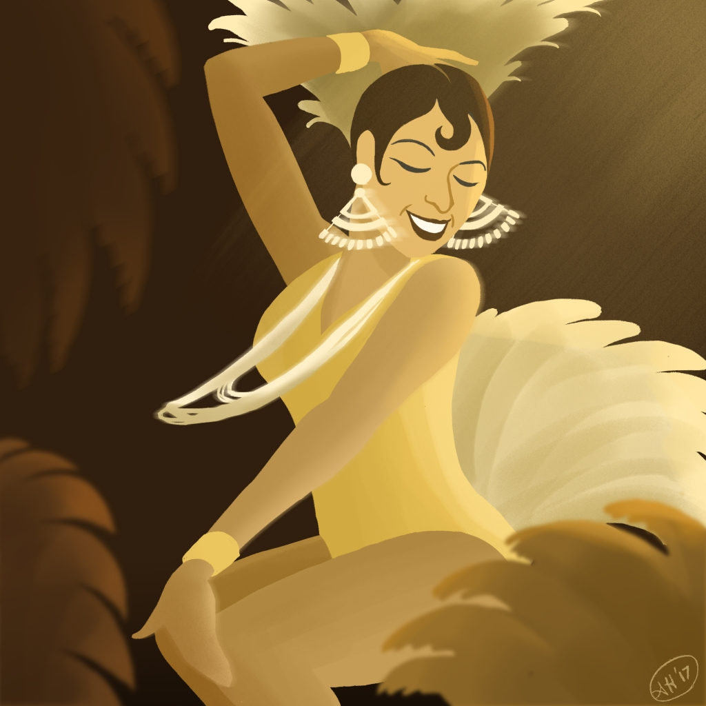 a black history month illustration by alleanna harris of the entertainer josephine baker