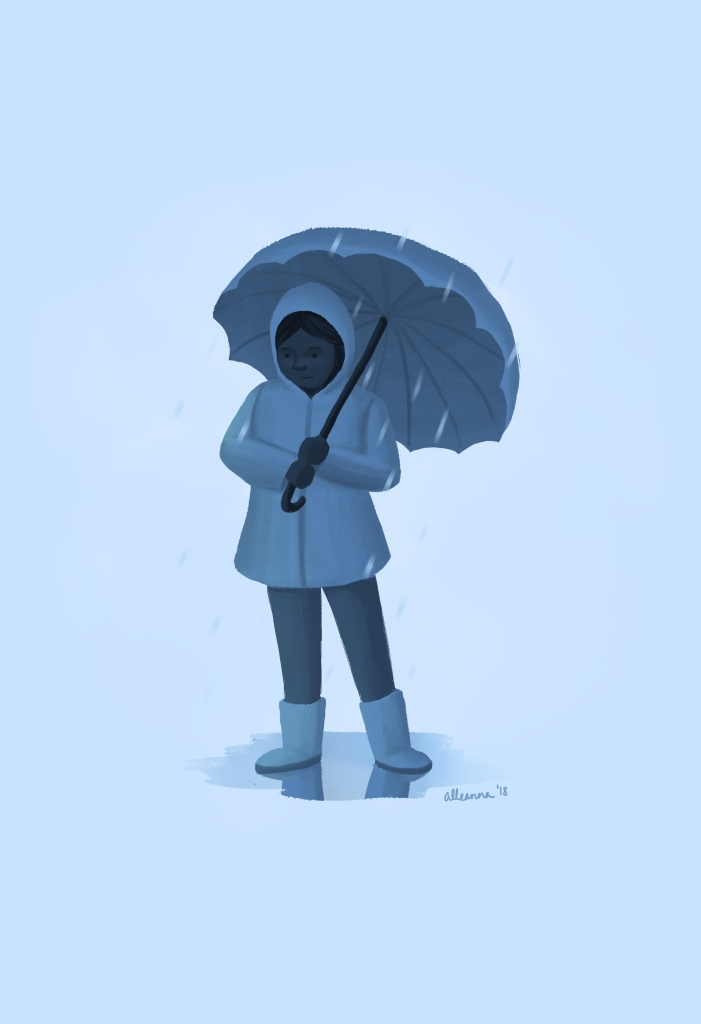 an illustration by alleanna harris of a blue girl standing in a small puddle holding an umbrella shielding her from the rain