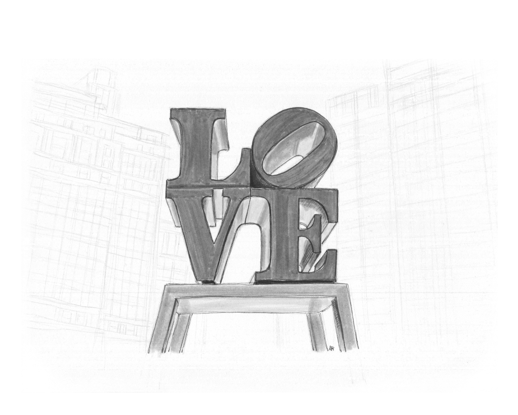 an original drawing by alleanna harris of robert indiana's love sculputure in love park