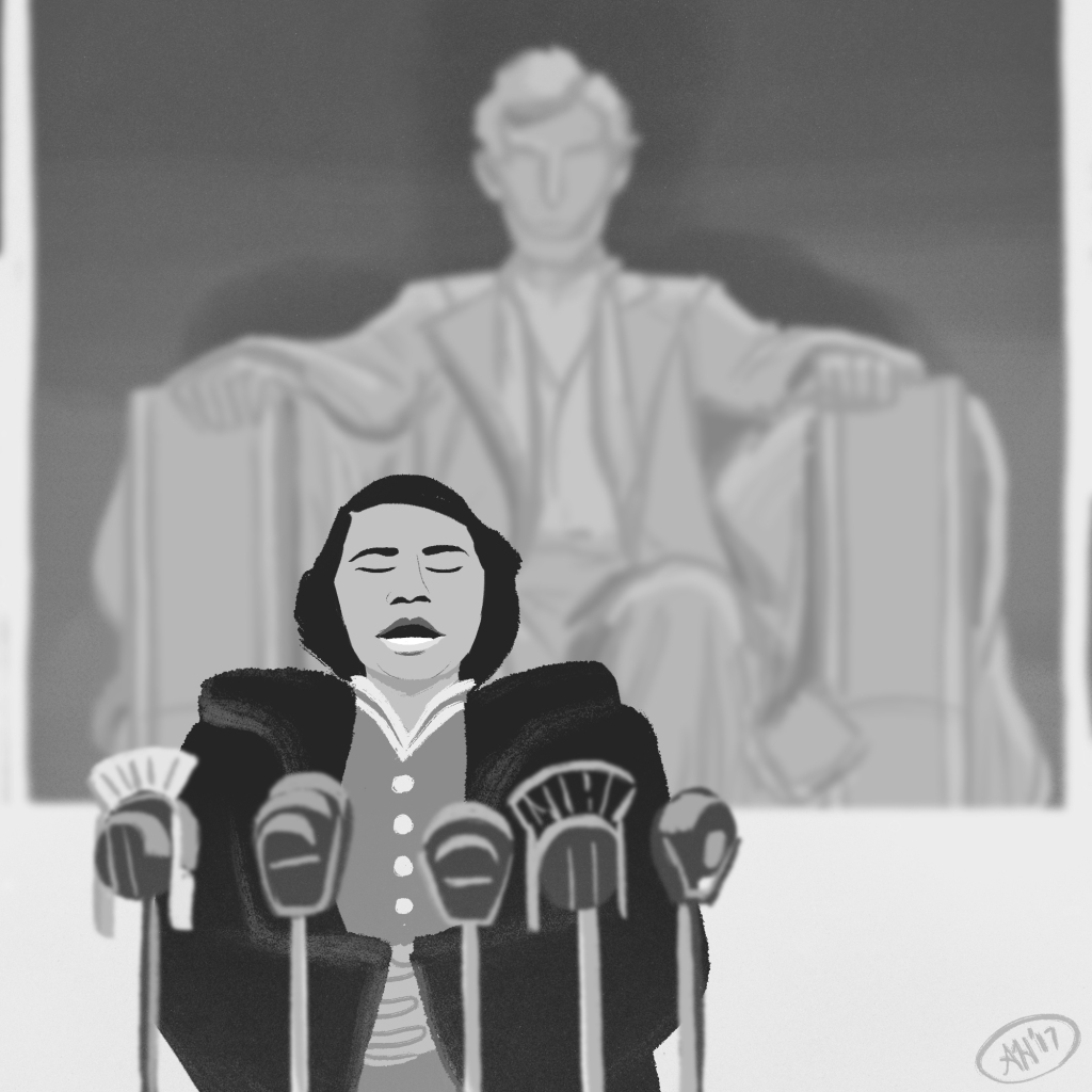 a black history illustration by alleanna harris of the singer marian anderson in front of the lincoln memorial