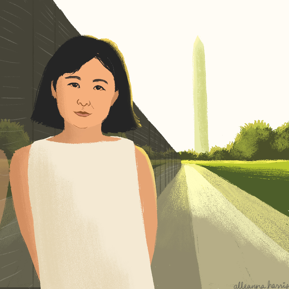 a women's history illustration by alleanna harris of the architect and sculptor maya lin