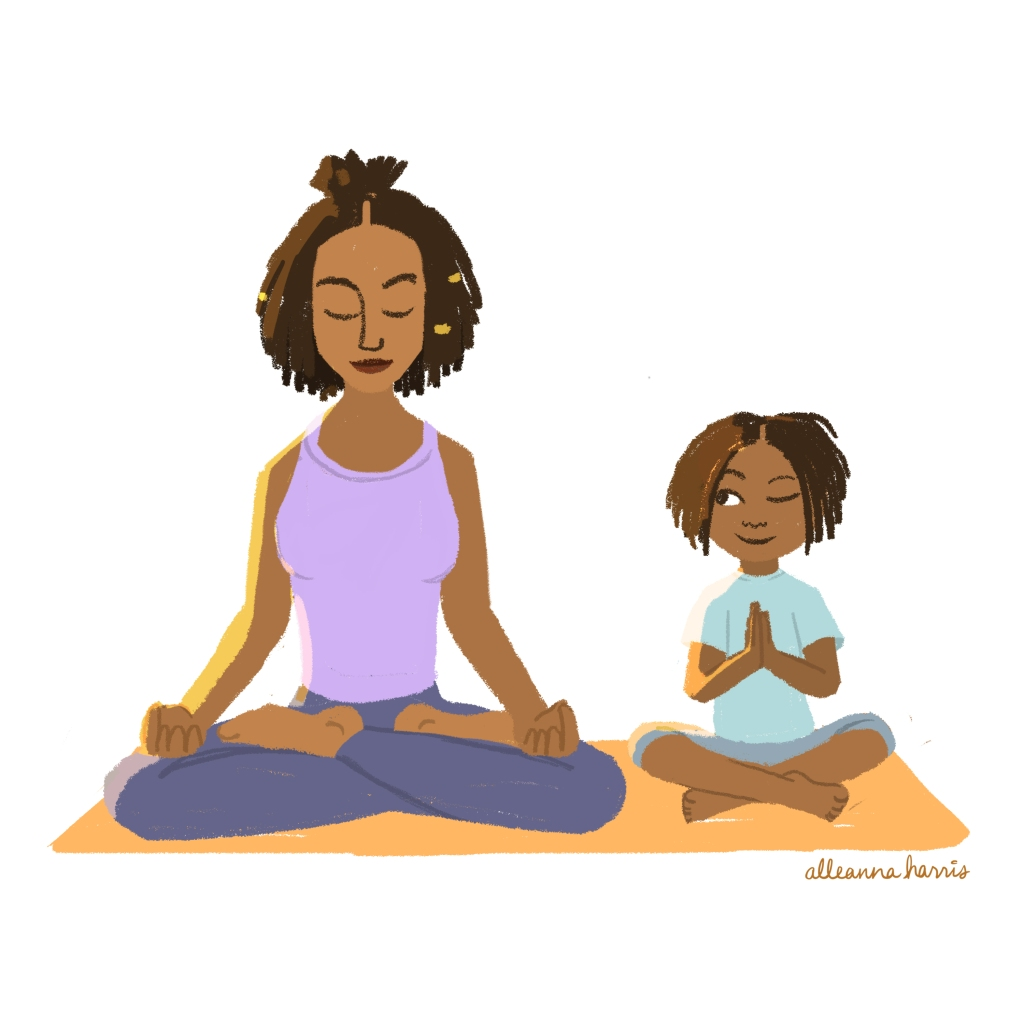 an illustration by alleanna harris of a black mother and daughter meditating together
