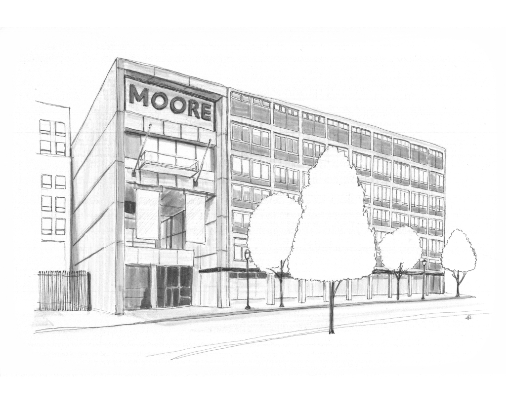 an original drawing of Moore College of Art and Design in Philadelphia by Alleanna Harris