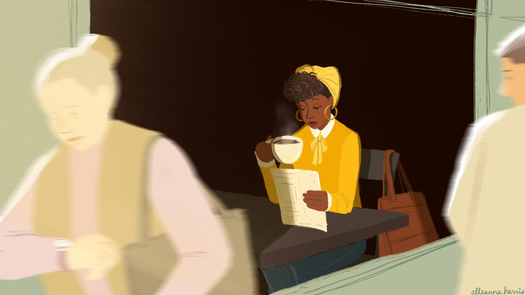 an illustration by alleanna harris of a black girl in yellow drinking coffee and reading a menu