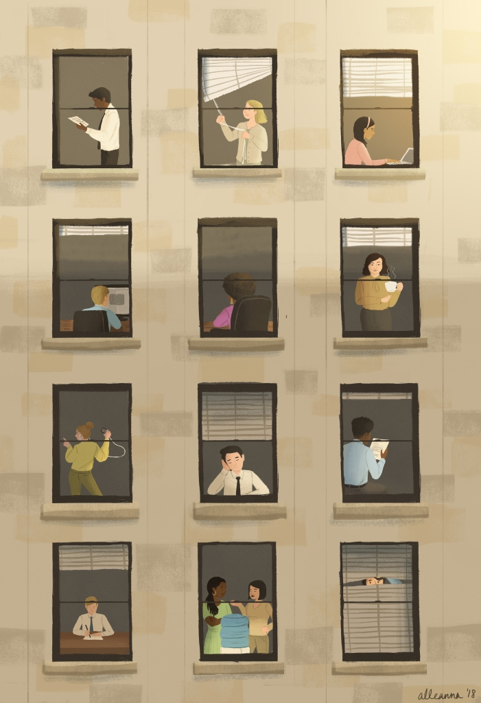 an illustration by alleanna harris of the outside of an office building and the people inside