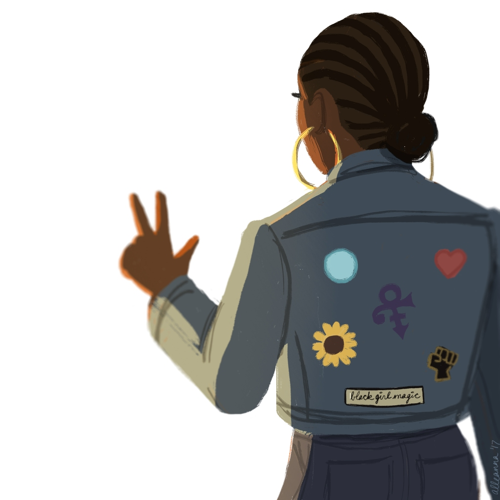 an illustration by alleanna harris of a black girl making the peace sign while wearing a denim jacket with patches on the back