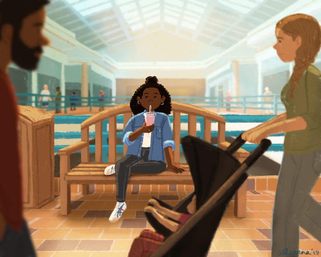 an illustration by alleanna harris of a girl sitting on the bench in the mall people watching