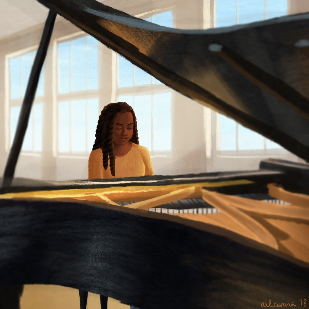 an illustration by alleanna harris of a black girl playing a grand piano in a sunlit room