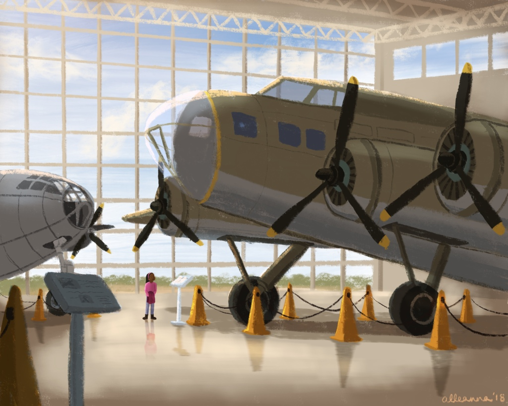 an illustration by alleanna harris of a girl looking up at a vintage airplane in an aviation museum