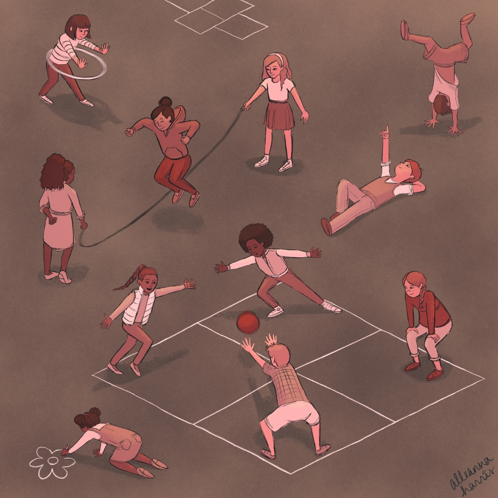 an illustration by alleanna harris of kids playing in the playground during recess
