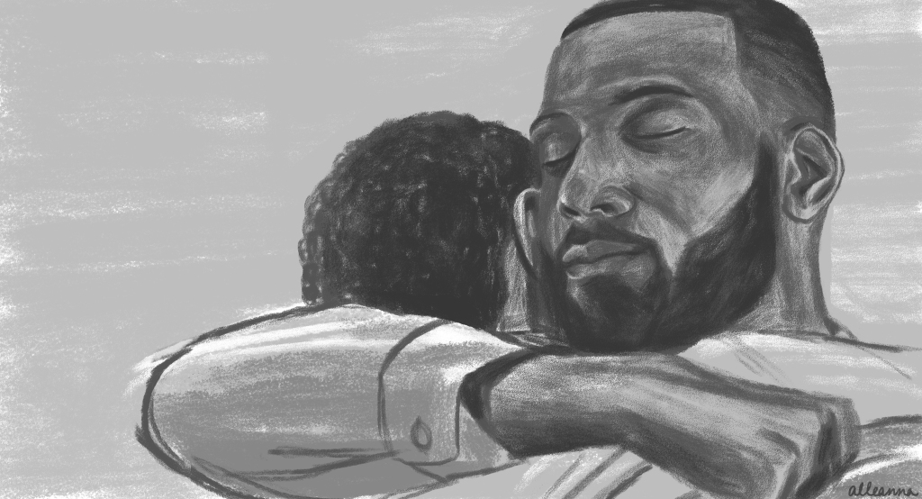an illustration by alleanna harris of ralph angel bordelon and blue bordelon from the ava duvernay created tv show queen sugar on oprah winfrey's network