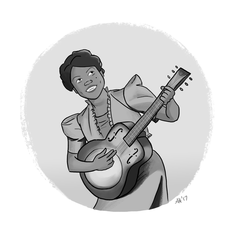 a black history month illustration by alleanna harris of sister rosetta tharpe, the godmother of rock and roll