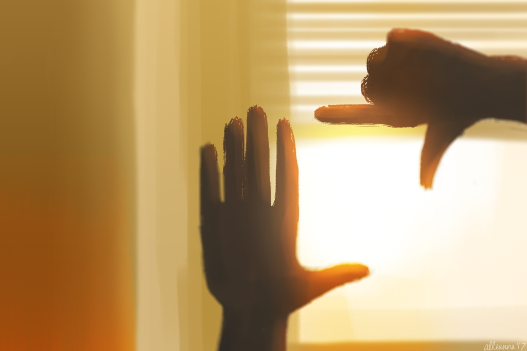 an illustration by alleanna harris of two hands held up to the glowing sunlight streaming from an open window