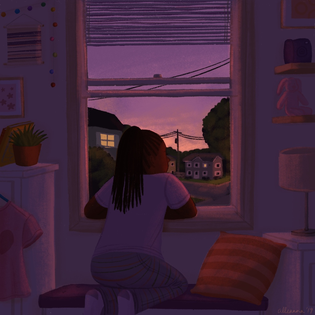 a drawing by alleanna harris of a girl looking out of her window at a late summer sunset