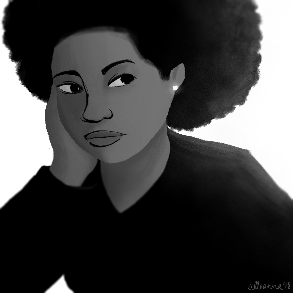 an illustration by alleanna harris of a black girl with an afro staring pensively