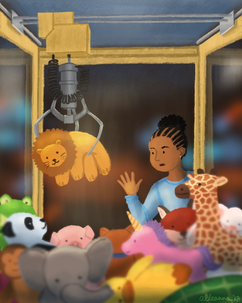 an illustration by alleanna harris of a girl waiting for a toy to drop in the toy claw machine