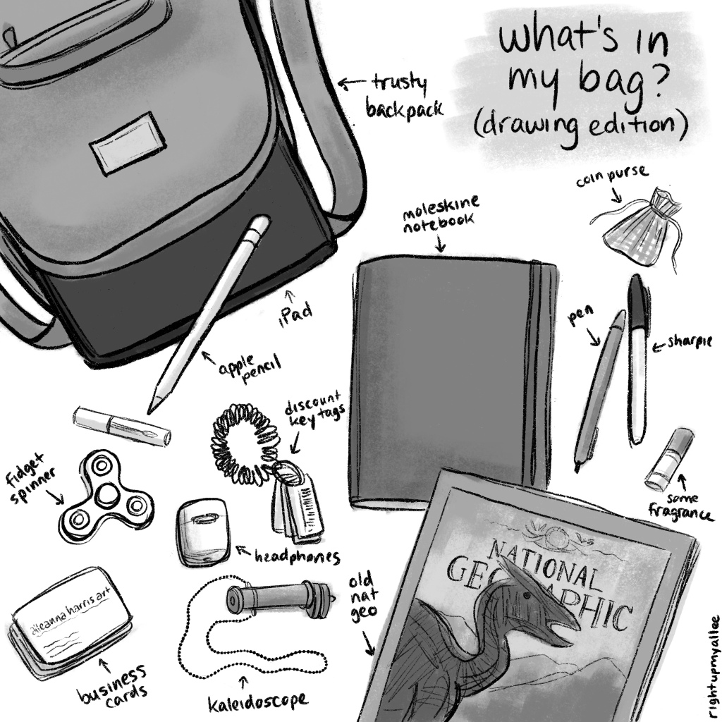 an illustration by alleanna harris of the things in my bag