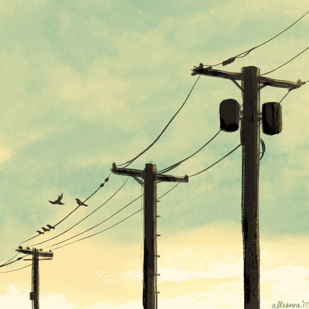 an illustration by alleanna harris of power lines under a moody sky