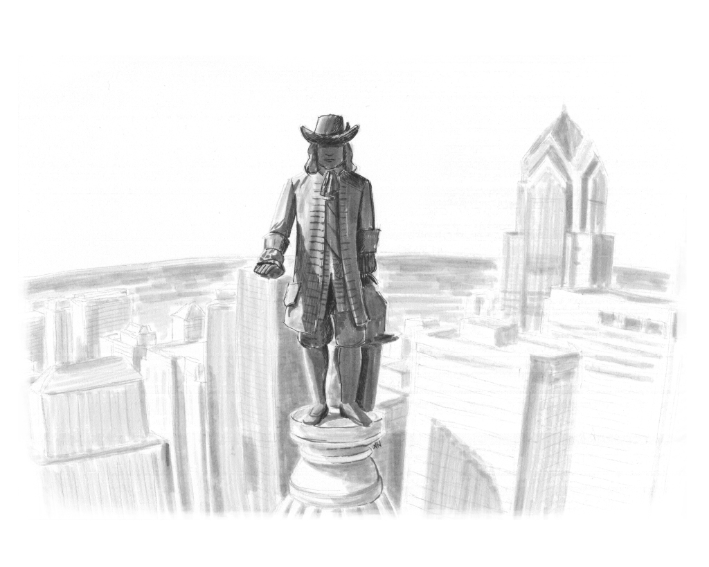 an original drawing by alleanna harris of the william penn statue on top of philadelphia city hall