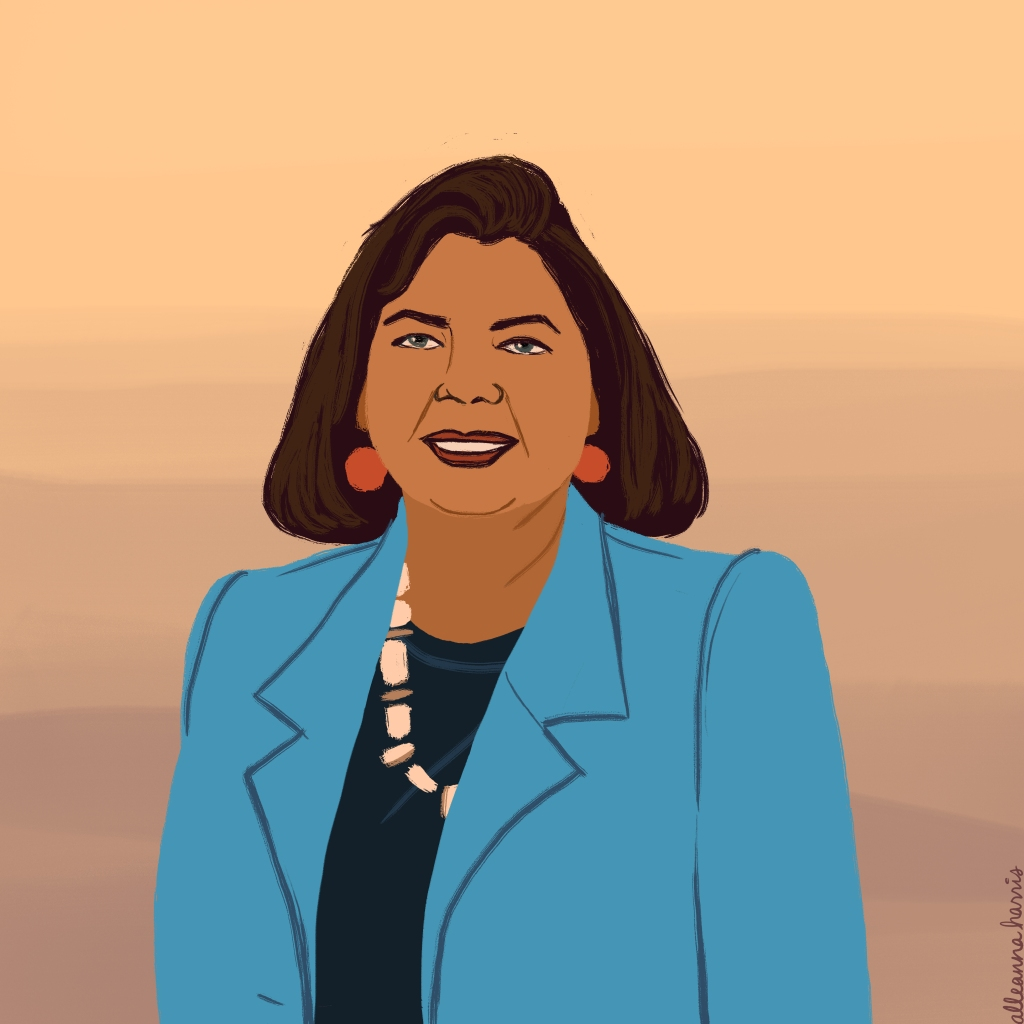a women's history month illustration by alleanna harris of the chief wilma mankiller
