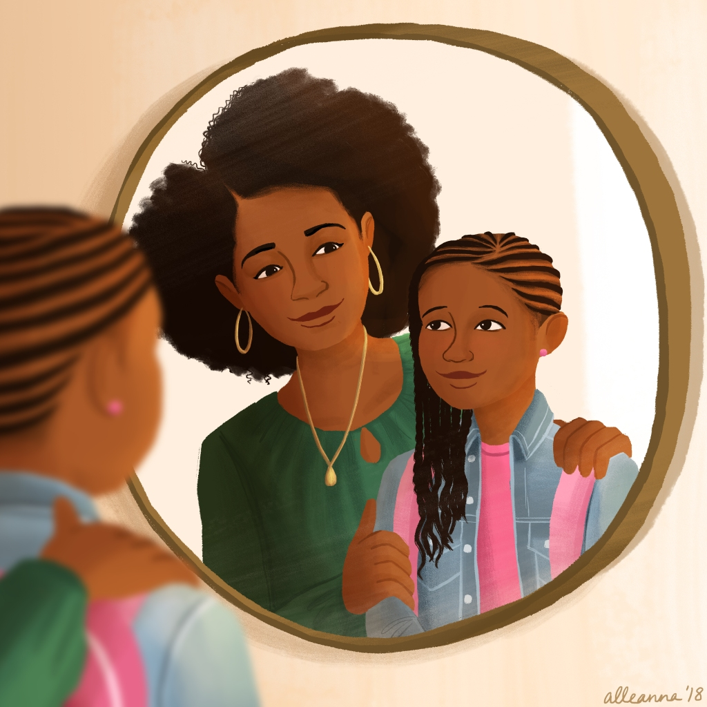 an illustration by alleanna harris of a mom encouraging her daughter in the mirror before her first day of school